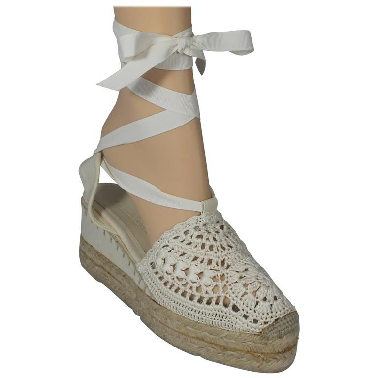 85ff1c40e Ralph Lauren Collection White Crocheted Tie Up Espadrille Wedges - 6.5 For  Sale