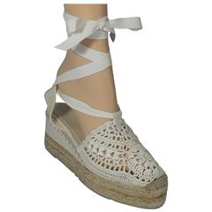 Ralph Lauren Collection White Crocheted Tie Up Espadrille Wedges - 6.5