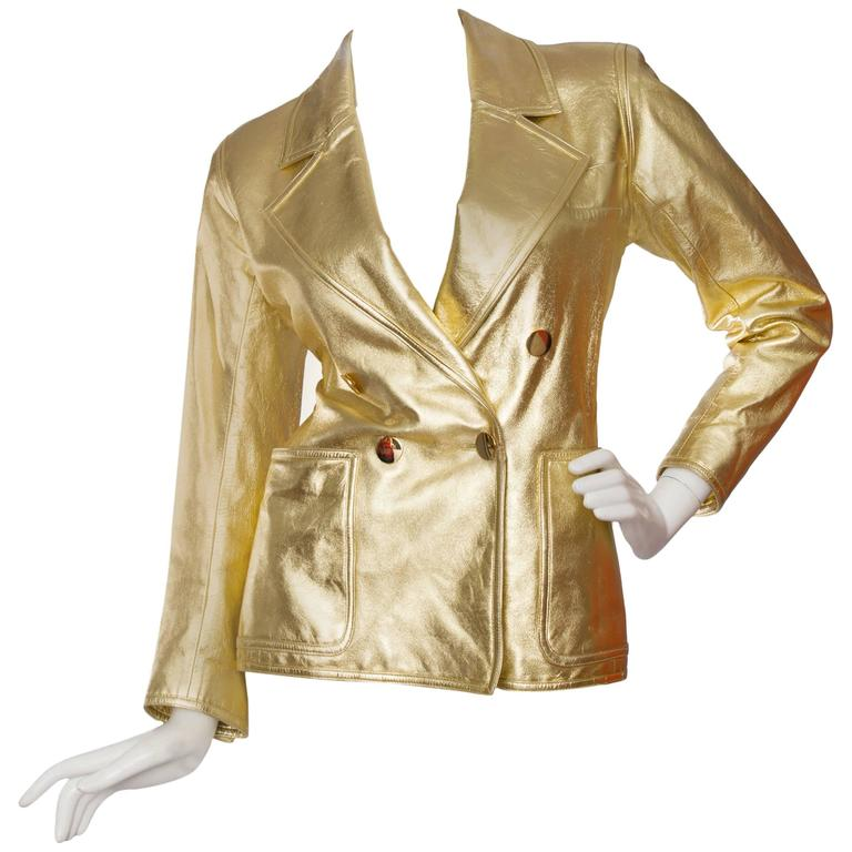 605db6db184 1992 Documented Yves Saint Laurent Double Breasted Gold Leather Jacket For  Sale