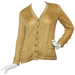 1960s Chanel Haute Couture Gold Lurex Cardigan