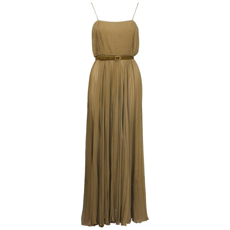 Bill Blass Mocha Chiffon Pleated Gown w/ Belt