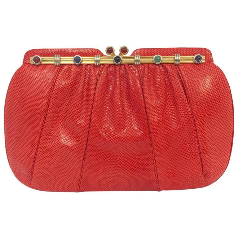 Vintage Red Lizard Judith Leiber Convertible Clutch With Semi Precious Jewels