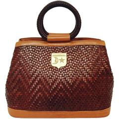 Barry Kieselstein-Cord Cognac Woven Leather Round Top Handle Bag W. Strap