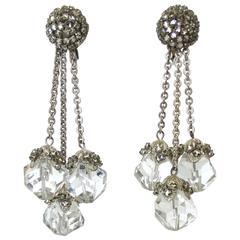 1950s Miriam Haskell Crystal Drop Earrings