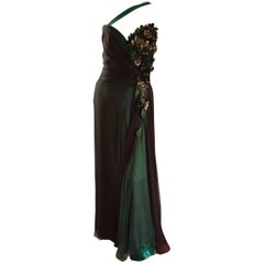 Bob Mackie Vintage Emerald Green Chiffon Leather Leaf Grecian Gown