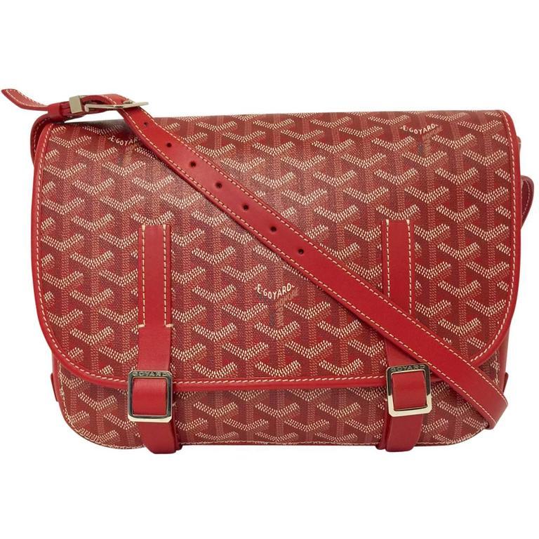 Goyard Red Goyardine Canvas Belevedere Crossbody Bag MM at ...