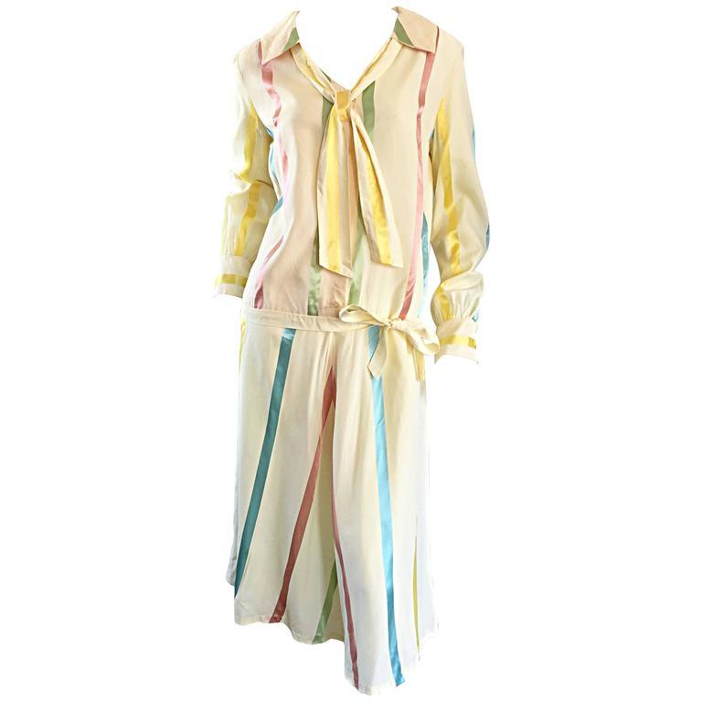 Chic 1920s Ivory ' Candy Stripe ' Silk Drop Waist Vintage 20s Day Dress 1