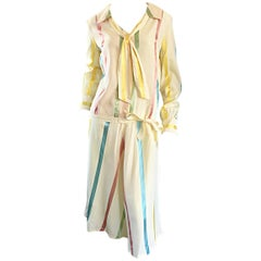 Chic 1920s Ivory ' Candy Stripe ' Silk Drop Waist Vintage 20s Day Dress