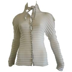 Issey Miyake White Blouse with Silver Trim