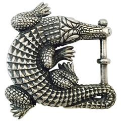 Barry Kieselstein Cord Iconic Sterling Silver Alligator Belt Buckle