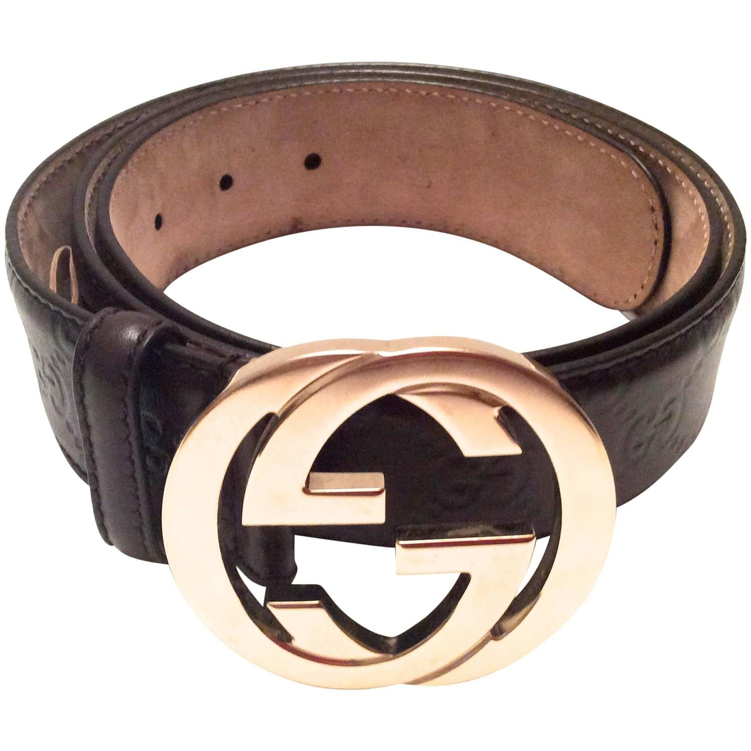 s gucci brown leather belt like new for sale at 1stdibs