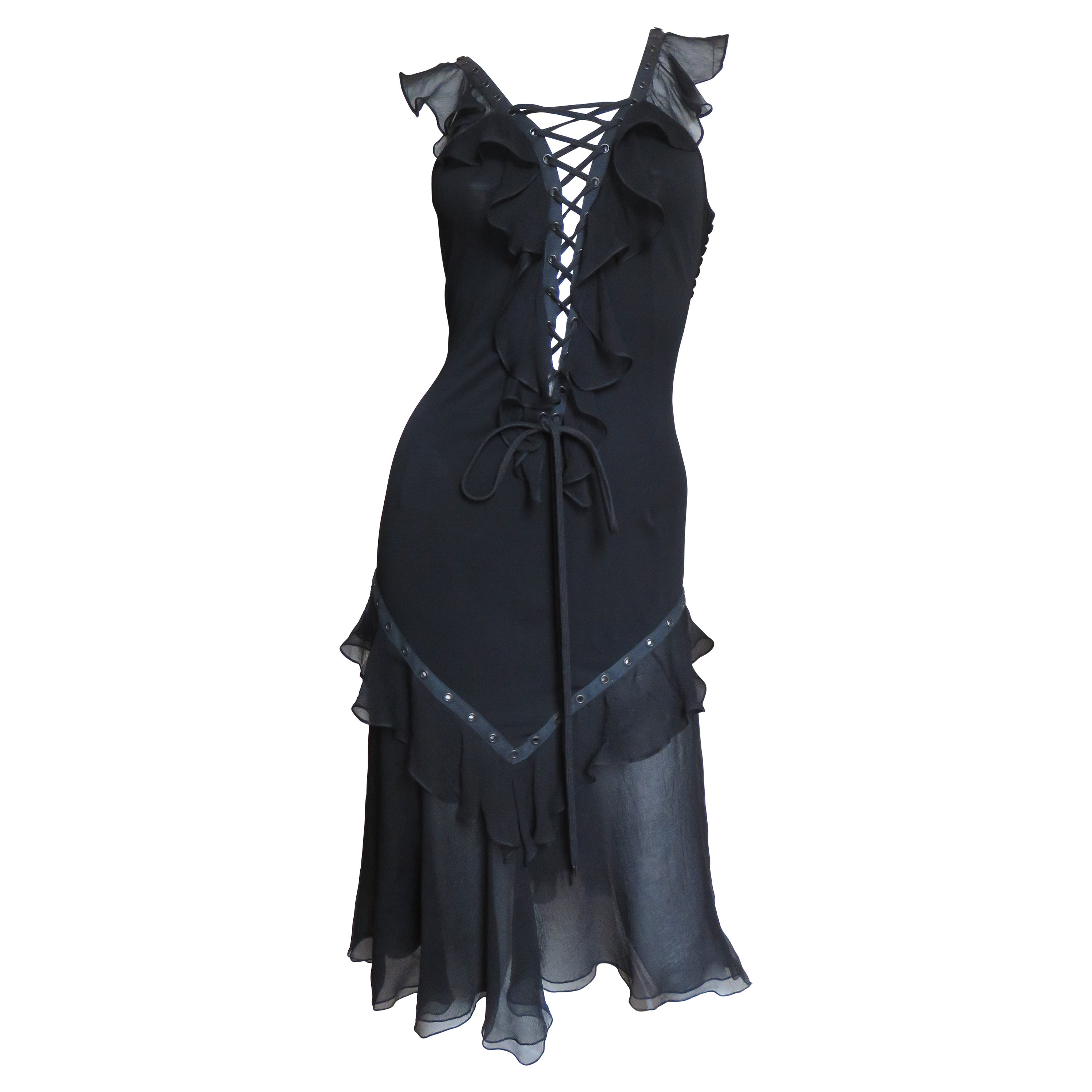 Christian Dior by John Galliano Plunge Corset Lace Up Dress