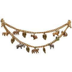 Jay Strongwater Multi Charm Safari Animal  Belt or Necklace