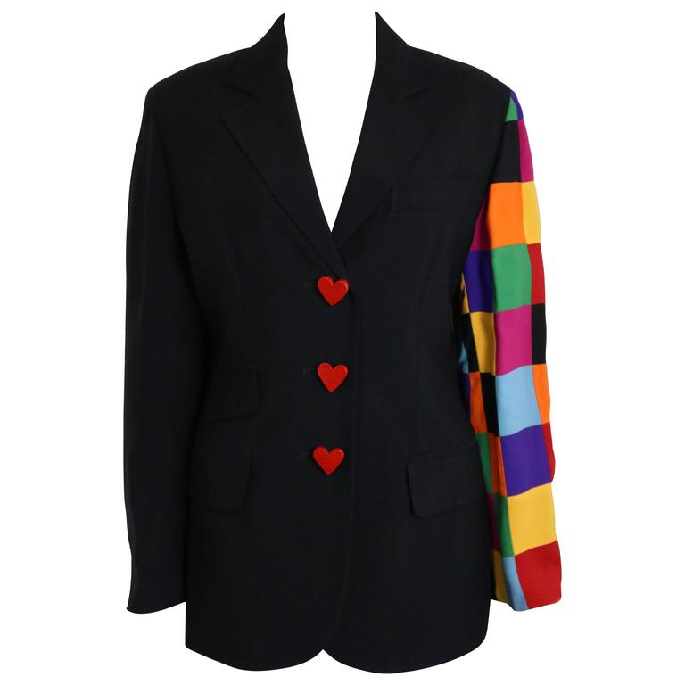 Moschino Couture Black With Multicolour Patchwork Sleeve Jacket