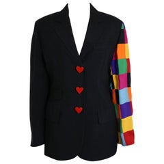 90s Moschino Couture Black With Multicolour Patchwork Sleeve Jacket