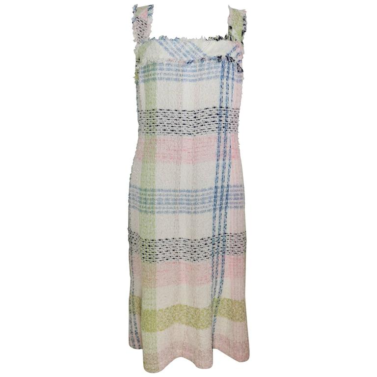 Chanel White Multicolour Plaid Tweed Fringe Sleeves Shift Dress  For Sale