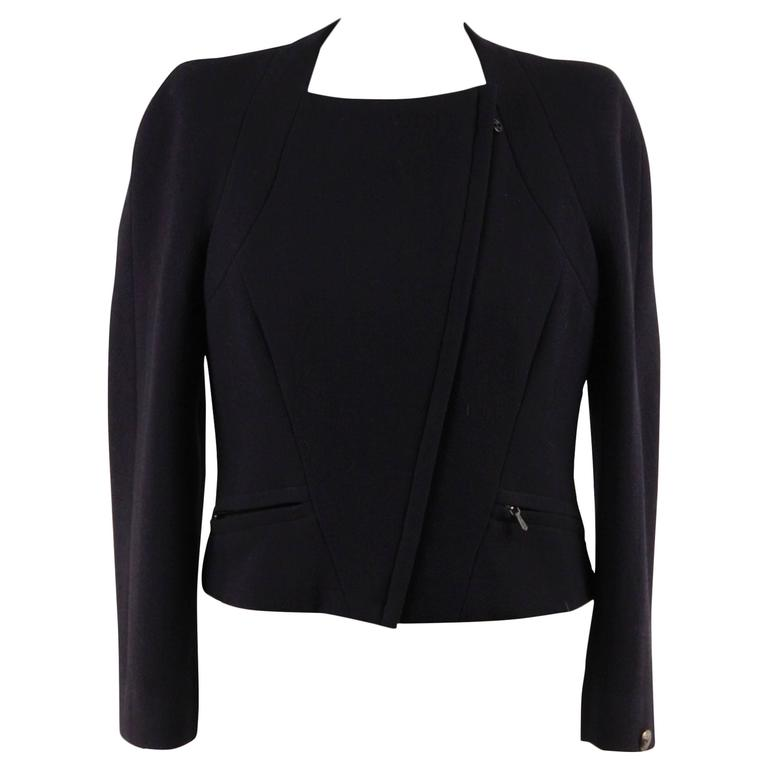 CHANEL BOUTIQUE Navy Blue Wool CROPPED Zip Up JACKET Size 42