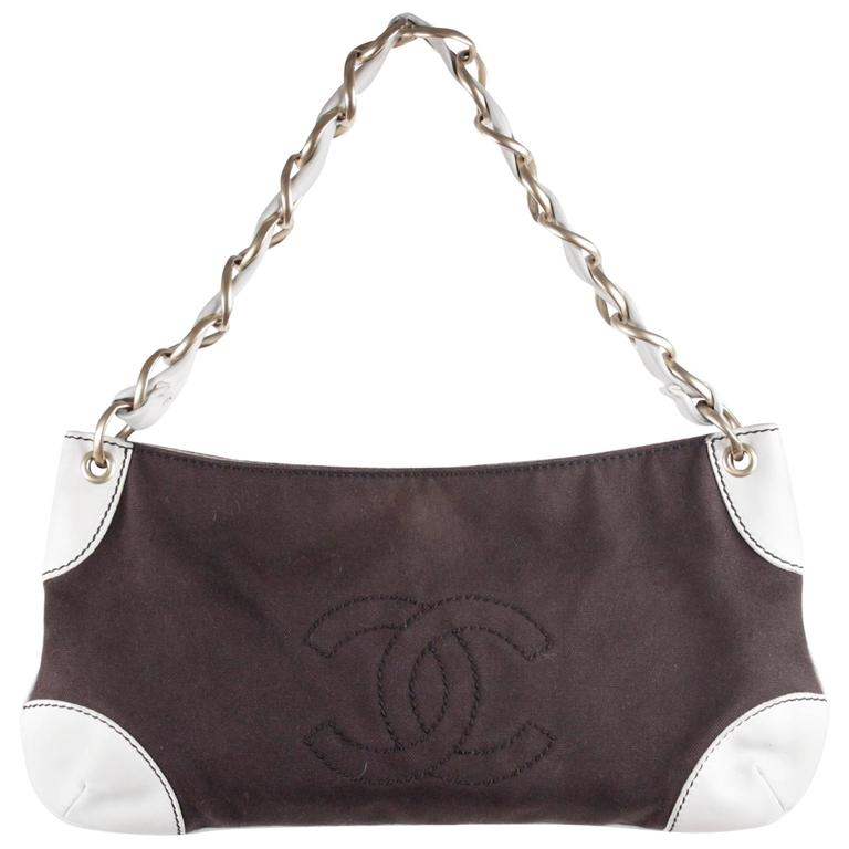 CHANEL Brown Canvas & White Leather SHOULDER BAG Purse TOTE w/ CC LOGO