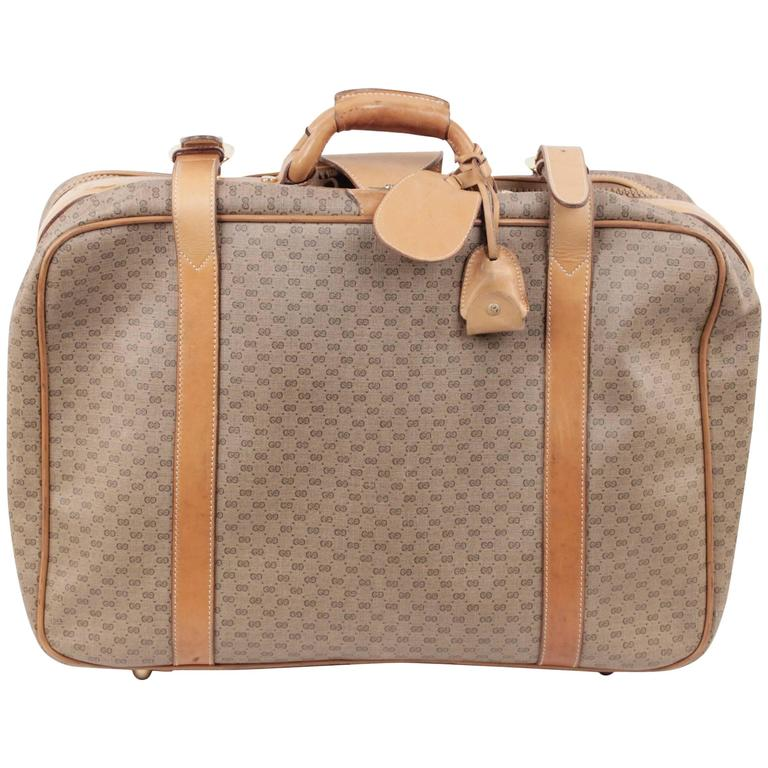 Gucci Vintage Tan Gg Monogram Canvas Cabin Size Suitcase Travel Bag For