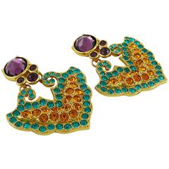 Yves Saint Laurent YSL Vintage Rare Opulent Mykonos Heart Dangling Earrings