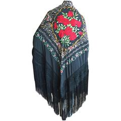 Exquisite Embroidered Roses Antique Canton Fringe Piano Shawl