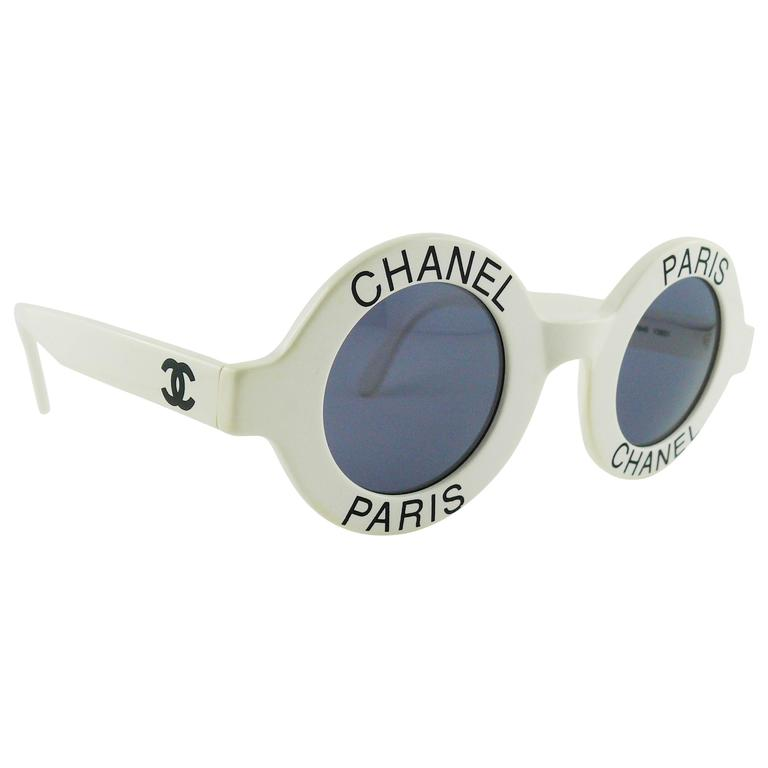 Chanel Extremely Rare Vintage 1990s White Logo Sunglasses For Sale