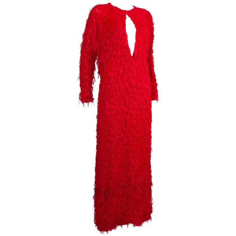 Chloé red fringed silk evening dress, C. 2014