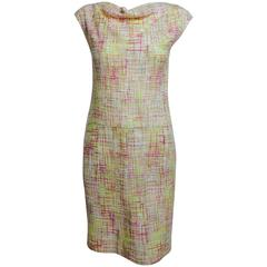 Vintage Chanel yellow, pink & cream tweed sleeveless shift dress 1998