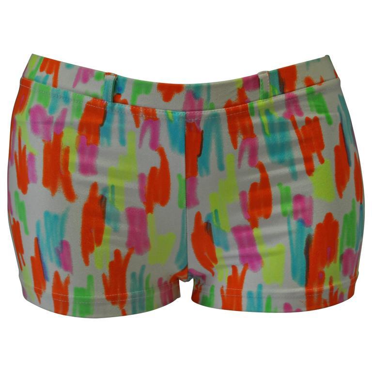 Rare Gianni Versace Mare White Neon Color Stroke Swim Shorts