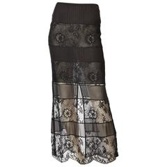 Chanel Lace and Georgette Evening Skirt