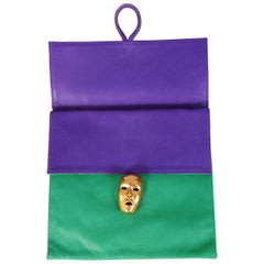 Isabel Canovas Violet and Green Leather Bag with Figural Closure