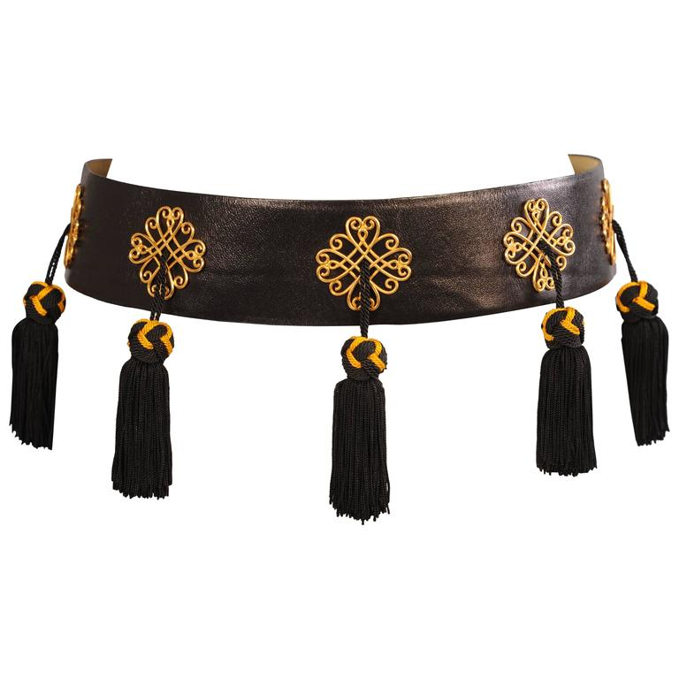 Isabel Canovas Black Leather Belt with Black and Gold Silk Tassels For Sale