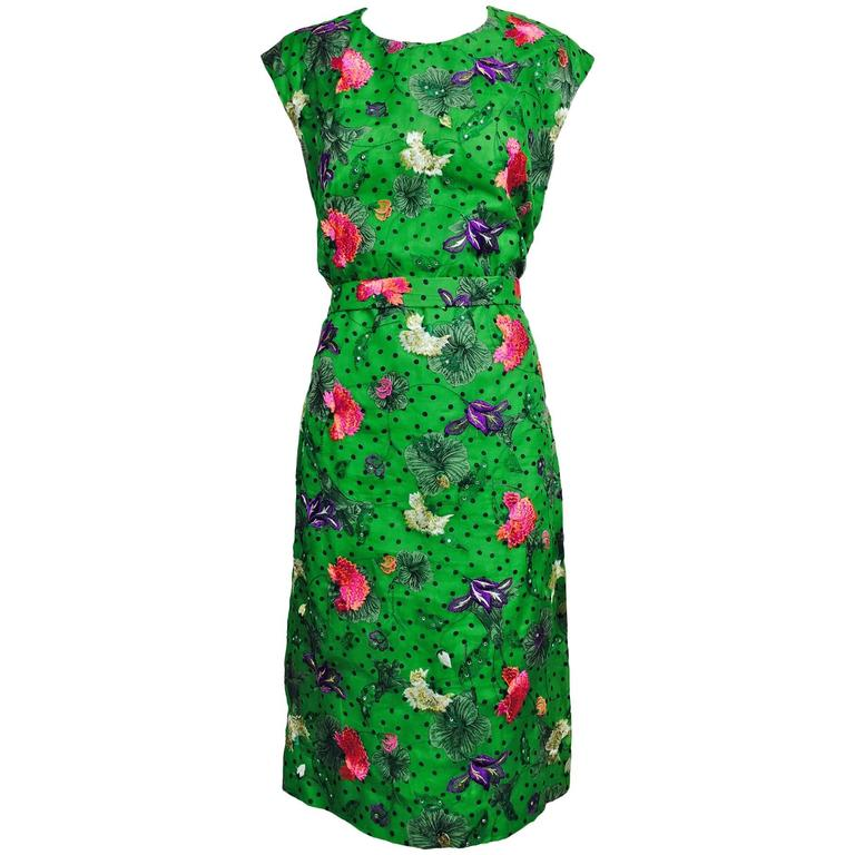 Vintage one off Custom Grass green embroidered silk organdy sheath dress 14 For Sale