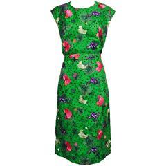 Vintage one off Custom Grass green embroidered silk organdy sheath dress 14