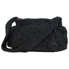 30s Black Hand-Beaded Purse