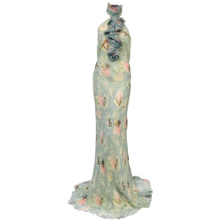 Ralph Lauren Collection Floral Print Silk Bias Cut Halter Dress With ...