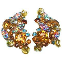 Gorgeous 1950s Multi Dimensional Earrings