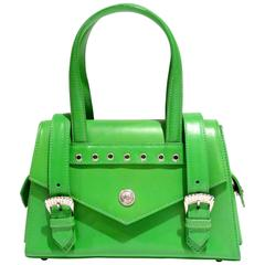1990s Gianni Versace Green Top Handle Handbag