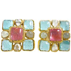 Rare Vintage Signed 1980s Chanel Gripoix Glass Earrings