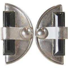 Vintage 1930s Art Deco Chrome With Onyx Earrings