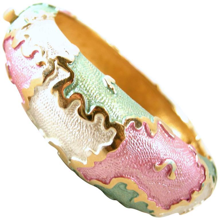 Vintage 1970's Multi Color Iridescent Enamel Bracelet For Sale