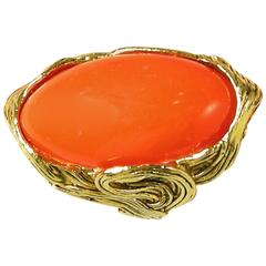 Vintage 1980s Large Faux Coral Cocktail Ring