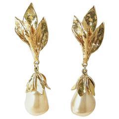 Vintage 1980s Long Yves St Laurent Gilt Leaf Pearl Drop Pierced Earrings