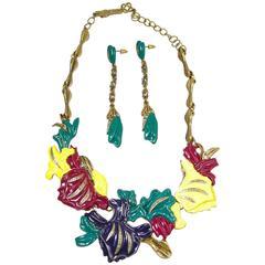 Vintage Oscar De La Renta Colorful Floral Necklace Set