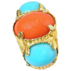 Vintage 1980s Faux Turquoise Coral Cocktail Ring