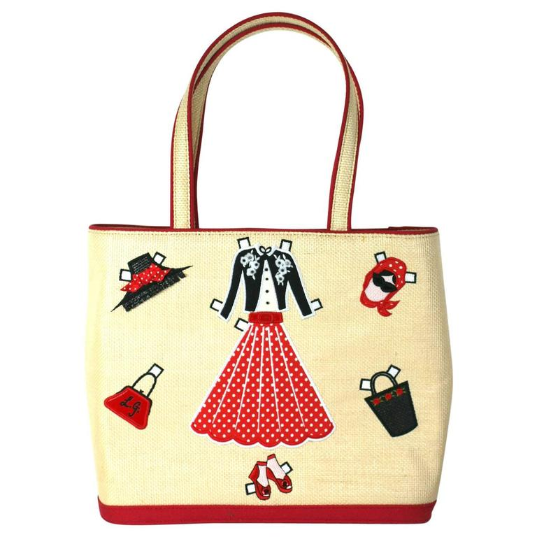 Lulu Guinness Paper Doll Raffia Tote For