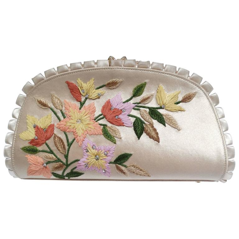 Judith Leiber Floral Embroidered Silk Clutch, 1990s   For Sale