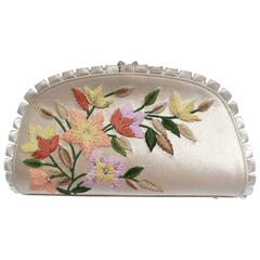 1990s Judith Leiber Floral Embroidered Silk Clutch