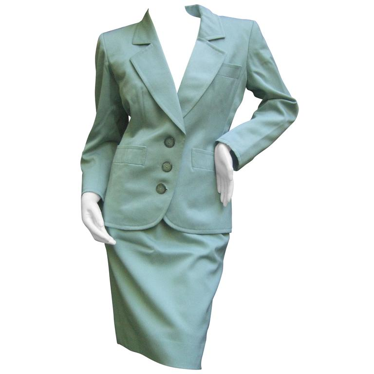 Yves Saint Laurent Couture Sage Green Suit. 1980's Power Dressing.