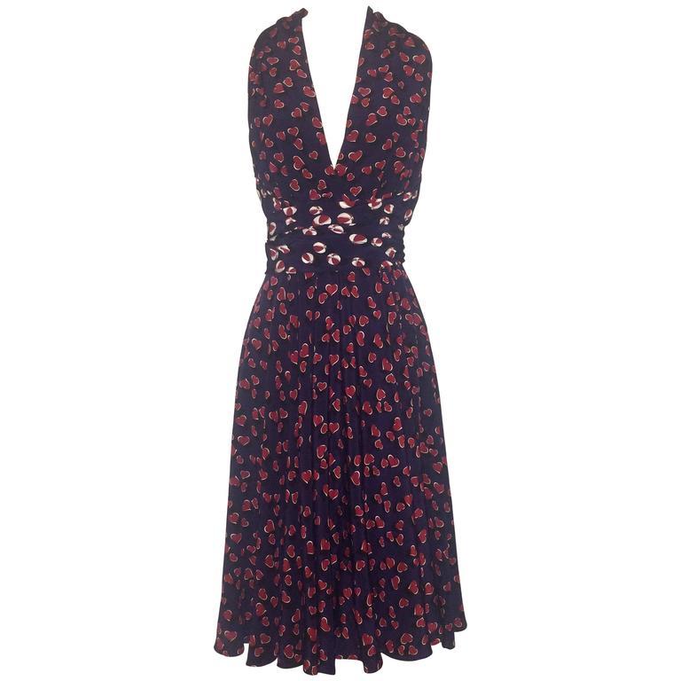 f5489a762b9 Gucci Blue and Red Heart and Beach Ball Print Silk Dress
